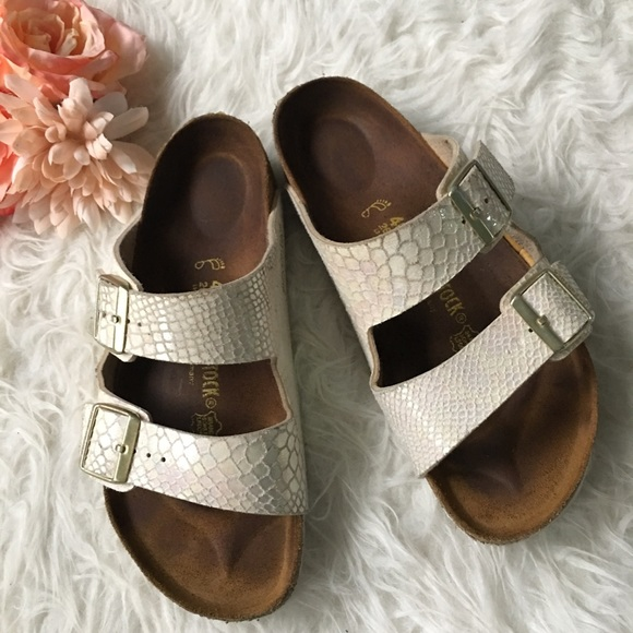 Birkenstock Shiny Snakeskin Cream Arizona Sandals